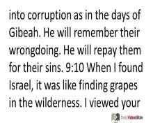 December 3 – Hosea 9 thru 11 from the Old Testament